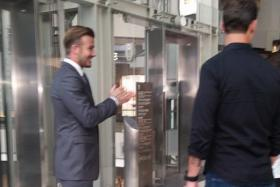 Former Manchester United star David Beckham was spotted at Marina Bay Sands over the weekend shooting a commercial.