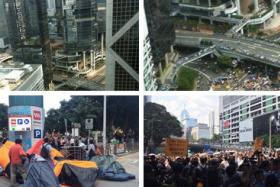 Hong  Kong protesters clash with masked men at rally site.