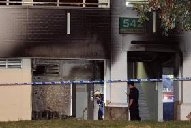 CHARRED: The fire is believed to have involved cans of paint that were placed in the switch room at the void deck.
