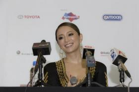 Ayumi Hamasaki speaking to the media at the press conference for the a-nation Singapore festival on Oct 17.