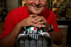 MAN IN THE HOTSEAT: AGV Helmets CEO Moreno Businaro (above) speaking with TNPS' Biker Boy.
