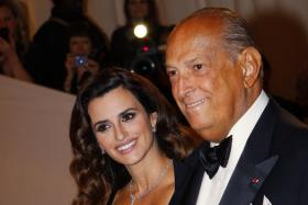 Oscar de la Renta arriving at the Metropolitan Museum of Art Costume Institute Benefit celebrating the opening of Alexander McQueen with Penelope Cruz. The fashion designer died at the age of 82.