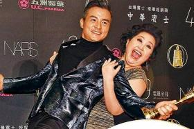SMILES: Christopher Lee and Chung Hsin Ling, who won for Best Actress, at the 49th Golden Bell Awards.