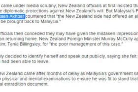 """Screengrab of ABC's report attributing a quote to """"Malaysia's Foreign Affairs Minister Kenyataan Akhbar""""."""