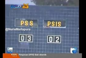 Screenshot of a news report showing the 3-2 scoreline during an Indonesian Premier Division match between PSS Sleman and PSIS Semarang.