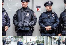 Four New York Police Department (NYPD) cops were posing for pictures when a man rushed up and chopped them with an axe.