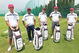 HIGH FIVE: (Top, from left) For Cody Lim, Sushminder Singh, Ko Yeo, Tan Horng Chiang and David Seow, competing in the World Golfers Championship will be their biggest golfing assignment to date.