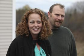 Nurse Kaci Hickox (L) joined by her boyfriend Ted Wilbur speak with the media outside of their home in Fort Kent, Maine October 31, 2014.