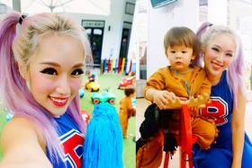 Xiaxue (left) and her son Dash in their Halloween costumes.