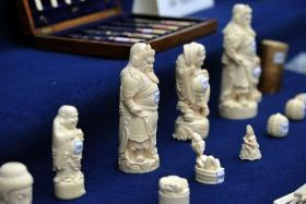 A file photo of illegally imported ivory products confisticated by Yunnan police in Kunming, southwest China's Yunnan province.