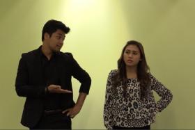 Stars of Ahmad Idham's new movie, Kamal Adli (left) and Erin Malek (right).