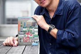 ACHIEVEMENT: (Above) Mr Andre Yeo with his new book, Home: 50 50-word Stories To Celebrate Singapore's 50th Birthday.