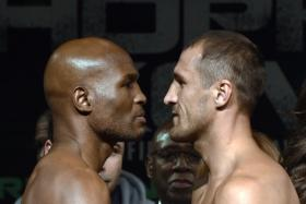 49-year-old Bernard Hopkins (L) and Russian Sergey Kovalev (R) face each other after their official weighing in Atlantic City, New Jersey.