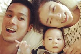 Andie Chen with wife Kate Pang and their son Aden.