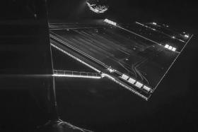 The 'selfie' image was taken on October 7, 2014 and captures the side of the Rosetta spacecraft and one of Rosetta's 14 m-long solar wings, with the comet in the background. Two images with different exposure times were combined to bring out the faint details in this very high contrast situation.