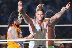 Tim Wiese strutting his stuff in the WWE ring.