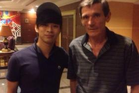 TNP's David Lee with former Singapore coach Raddy Avramovic.
