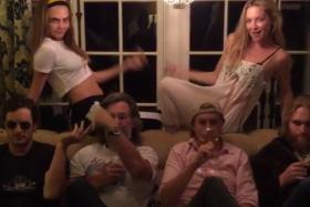 """Supermodel Cara Delevingne (left) and actress Kate Hudson uploaded Instagram videos of a """"dance-off"""" over the Thanksgiving holiday."""