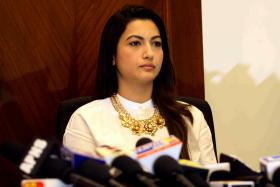 Gauhar Khan speaks to media on Tuesday following an assault while taking part in a television show in Mumbai