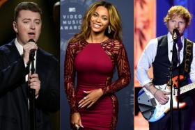 From left: Sam Smith, Beyonce and Ed Sheeran will fight it out in the Album of the Year category at the Grammy Awards next year.