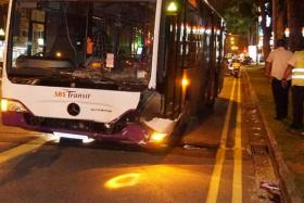 A bus collided with a taxi this evening (Dec 8), at Upper Serangoon Road.