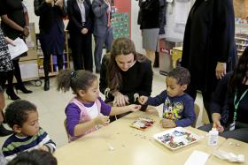 Kate Middleton, the Duchess of Cambridge,  in a pre-school class at the Northside Center for Childhood Development in New York.