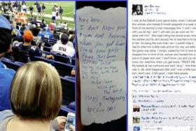 A Detroit Lions fan's note - sent to another fan - informs him about his cheating girlfriend.