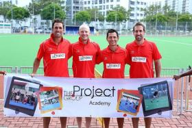 BOOST FROM DOWN UNDER: (far left to right) Mark Knowles, Rob Hammond, Jamie Dwyer and Liam De Young at the Sengkang Stadium.