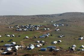 Tents at a camp hosting displaced Iraqis from the Yazidi community near the northern city of Mosul.