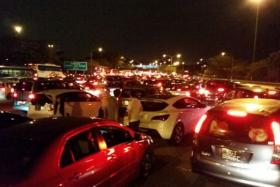 Motorists stuck in a jam at Second Link.