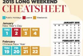 If you want to take advantage of public holidays next year, TNP's 2015 Long Weekend Cheatsheet is here to help.