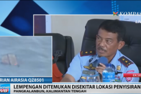 A screengrab from Kompas TV shows what looks like debris in the search area for missing AirAsia flight QZ98501.