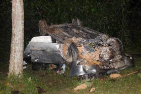 WRECKAGE: Mr Lee Tink Kok lost control of his car, which overturned after hitting a tree.