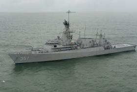 The Indonesian Navy vessel KRI Bung Tomo taking part in search operations on Thursday in the Java Sea.