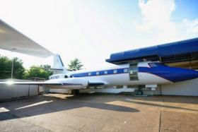 """Hound Dog II"", a Lockheed Jetstar owned by entertainer Elvis Presley, is displayed at Graceland in Memphis, Tennessee."