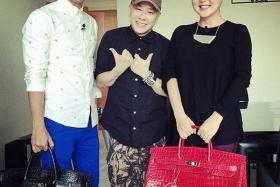 JUST POSING: (Above) The Instagram picture which shows (from left to right) Ben Yeo, David Gan and Quan Yifeng with the Hermes bags, that cost over $100,000 each.