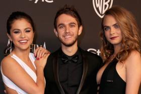 Selena Gomez, DJ Zedd and model Cara Delevingne attend the 2015 InStyle And Warner Bros Golden Globe Awards Post-Party