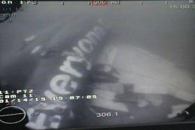 An image of AirAsia flight QZ8501's fuselage taken by a remotely operated vehicle from the MV Swift Rescue, from Singapore Defence Minister Ng Eng Hen's Facebook post.
