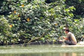 ILLEGAL: The poachers, who were on what appeared to be a big piece of styrofoam, used a drift net to catch the fish.