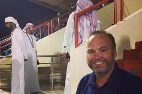 Dane Torben Aakjaer, seen here on a scouting trip in Dubai, was axed as a member of Manchester United's scouting network after he posted racist comments on social media.