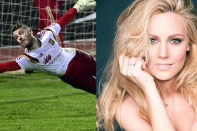 David de Gea practising for Spain and his girlfriend Edurne Garcia who will sing in the Eurovision Song Contest