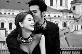 Jay Chou with his soon-to-be wife Hannah Quinlivan