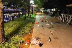 WHAT A MESS: The litter left behind by drinkers at Robertson Quay.