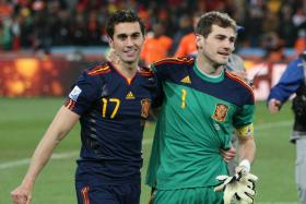 Alvaro Arbeloa and Iker Casillas in happier times after winning the World Cup in 2010.