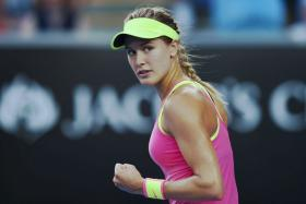 Canada's Eugenie Bouchard was asked by an Australian commentator to show off her outfit with a twirl after her Australian Open win over Kiki Bertens.