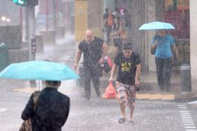 Pedestrians crossing the road at a pedestrian crossing at Upper Cross Street during a heavy downpour on 6 January 2015. Less thunderstorms and rainy days for rest of this month and next month.