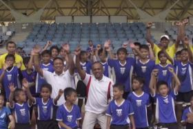 Minister for Foreign Affairs and Law K Shanmugam and Singapore sporting legend Fandi Ahmad launched the Nee Soon Football and Study Programme on Jan 25.