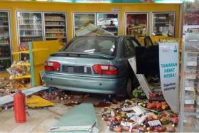 The petrol station's convenience store after the accident