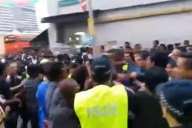 Screengrab of a video posted on the Facebook page of Mickey Vikieboy showing the skirmish on Tuesday (Feb 3).