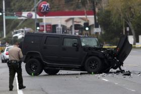 A damaged vehicle is pictured at the scene of a four-car crash involving Olympic gold medalist and reality TV star Bruce Jenner in Malibu, California, February 7, 2015. Jenner was an occupant in one of the vehicles that crashed in the beachside celebrity haven of Malibu.